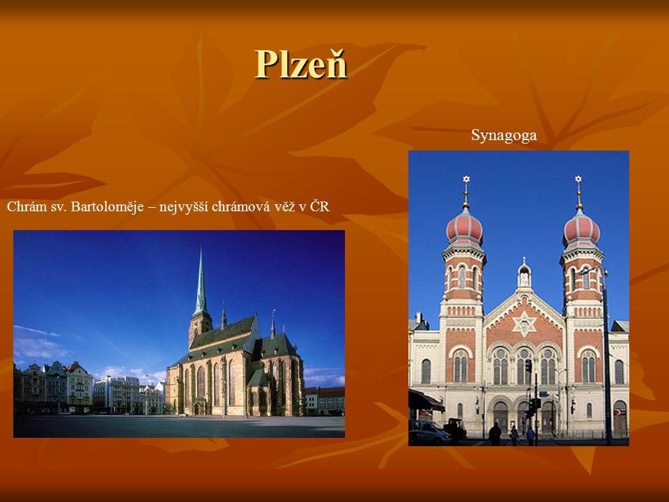 Plzeň Synagoga Chrám sv. Bartoloměje – nejvyšší chrámová věž v ČR