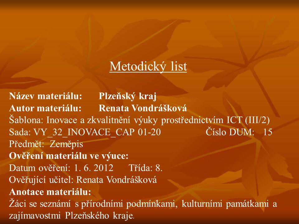 Metodický list Název materiálu: Plzeňský kraj