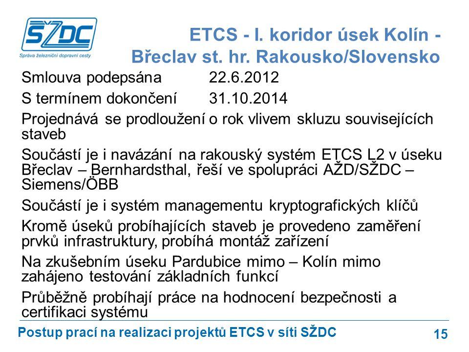 ETCS - I. koridor úsek Kolín - Břeclav st. hr. Rakousko/Slovensko