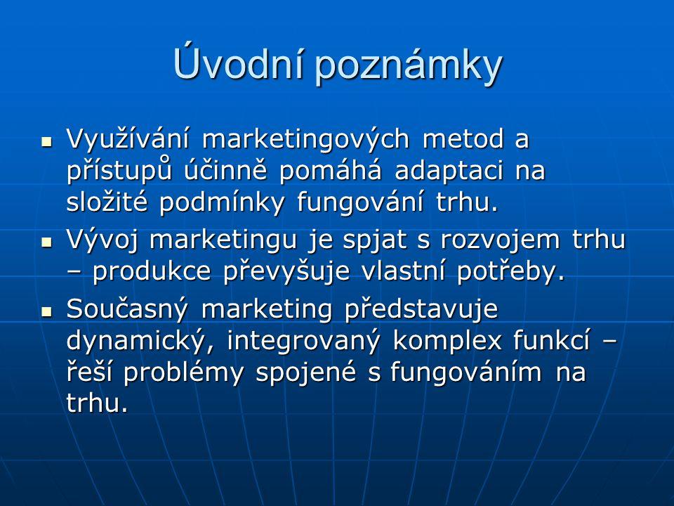 Úvodní poznámky Využívání marketingových metod a přístupů účinně pomáhá adaptaci na složité podmínky fungování trhu.