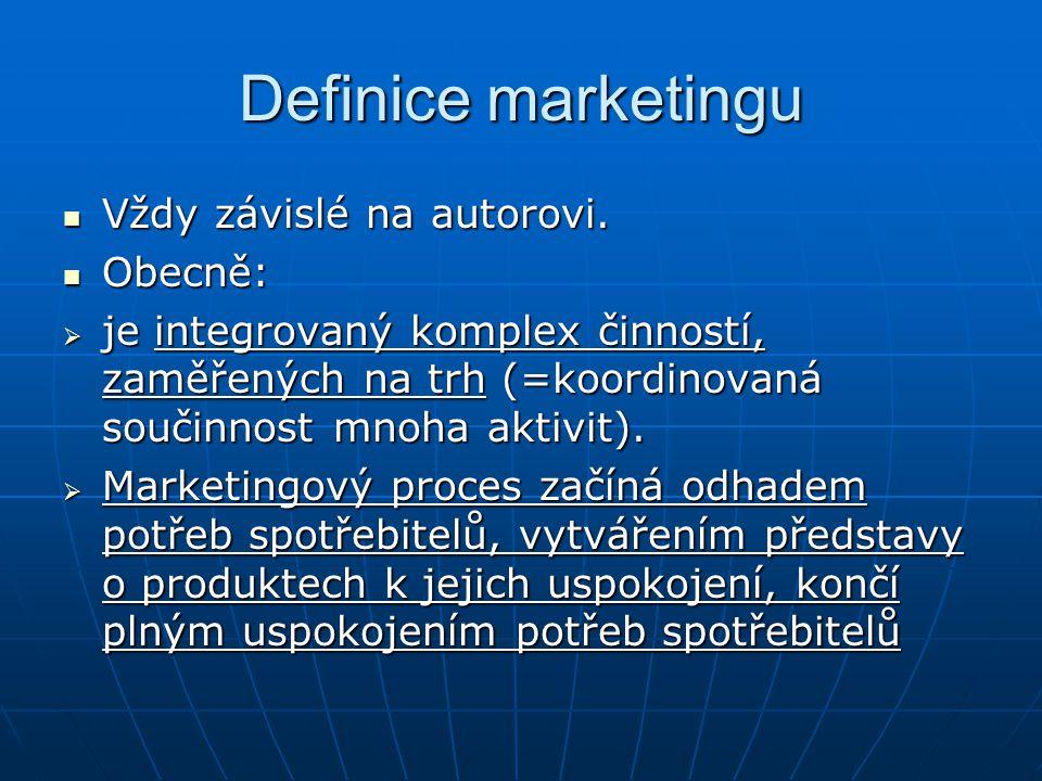 Definice marketingu Vždy závislé na autorovi. Obecně: