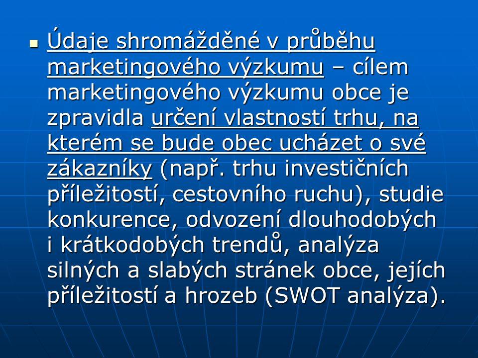 Údaje shromážděné v průběhu marketingového výzkumu – cílem marketingového výzkumu obce je zpravidla určení vlastností trhu, na kterém se bude obec ucházet o své zákazníky (např.