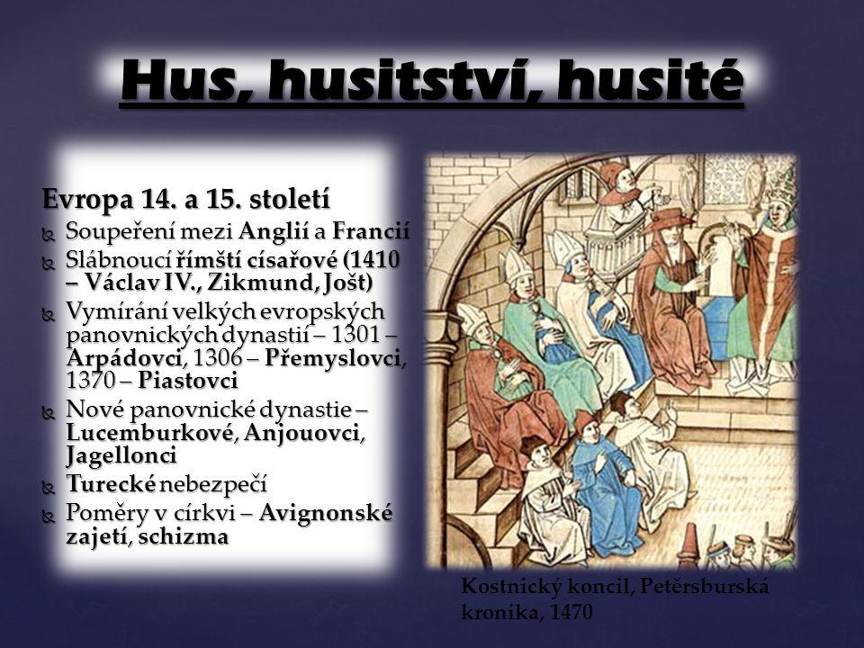Hus, husitství, husité Evropa 14. a 15. století