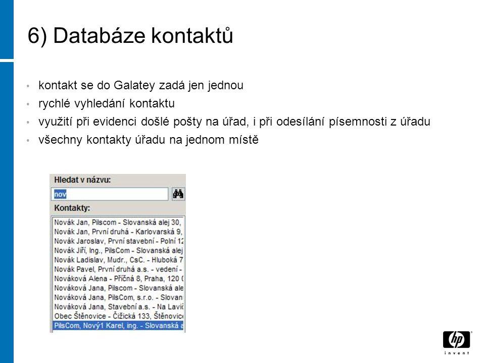 6) Databáze kontaktů kontakt se do Galatey zadá jen jednou