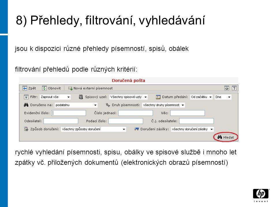 8) Přehledy, filtrování, vyhledávání