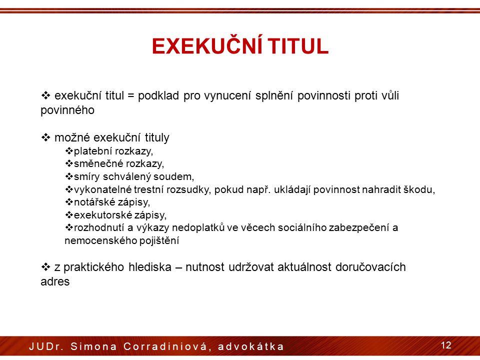 EXEKUČNÍ TITUL exekuční titul = podklad pro vynucení splnění povinnosti proti vůli povinného. možné exekuční tituly.