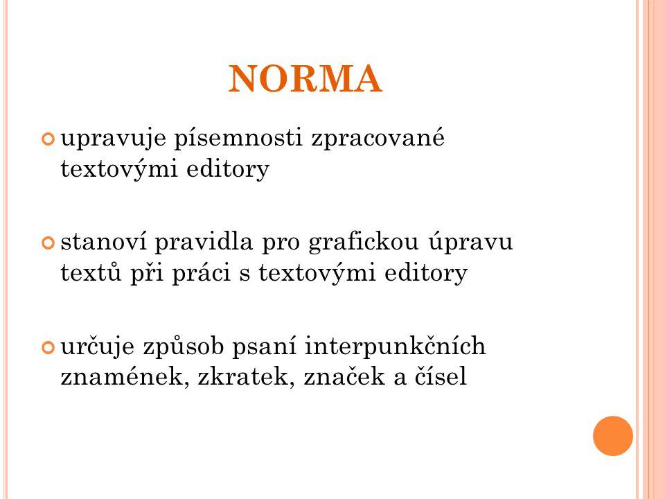 NORMA upravuje písemnosti zpracované textovými editory