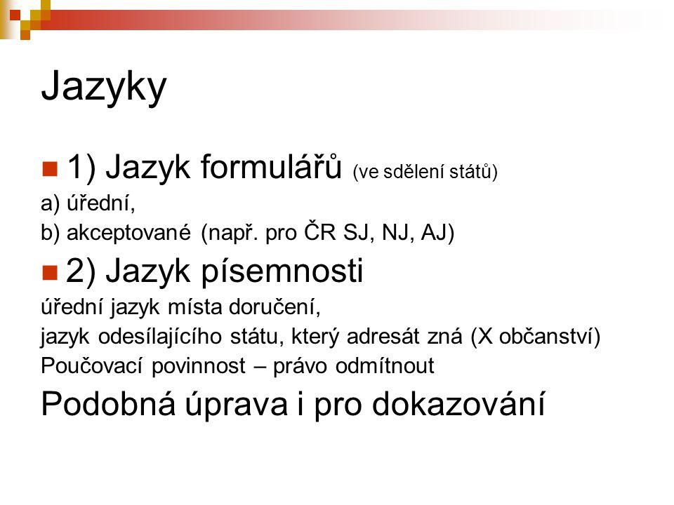 Jazyky 1) Jazyk formulářů (ve sdělení států) 2) Jazyk písemnosti