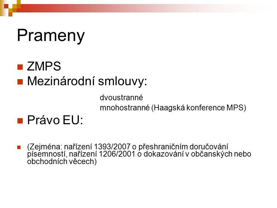 Prameny ZMPS Mezinárodní smlouvy: dvoustranné Právo EU: