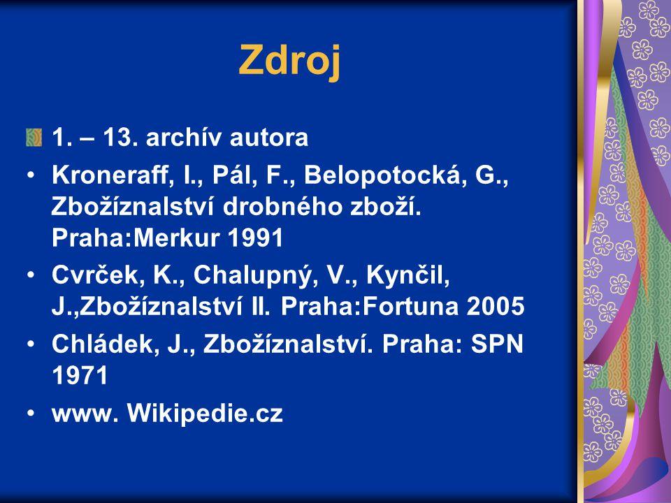 Zdroj 1. – 13. archív autora. Kroneraff, I., Pál, F., Belopotocká, G., Zbožíznalství drobného zboží. Praha:Merkur 1991.
