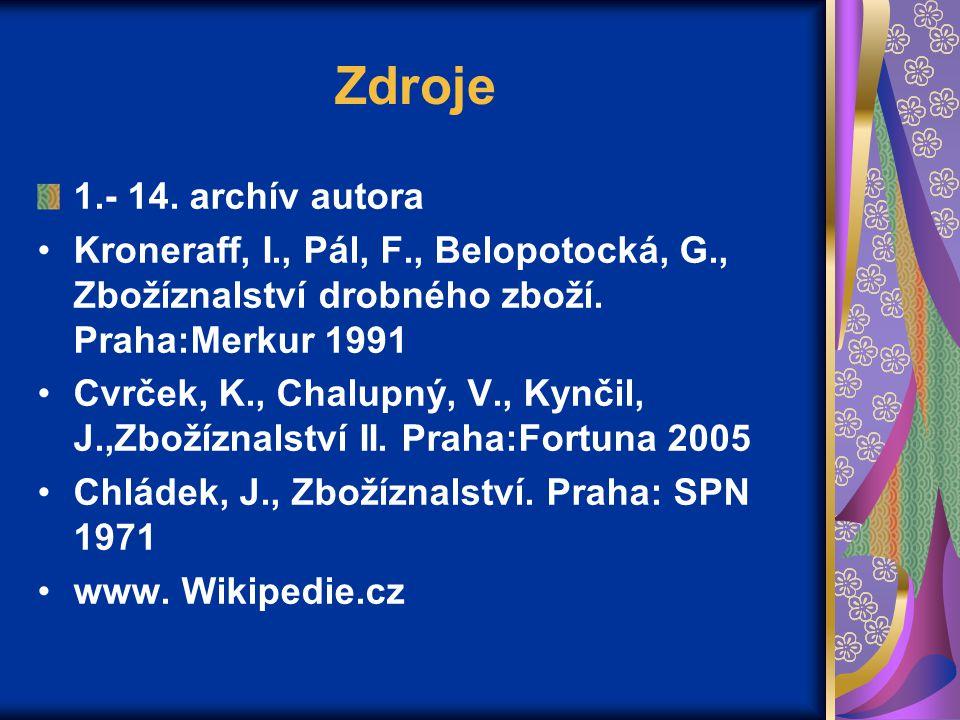 Zdroje 1.- 14. archív autora. Kroneraff, I., Pál, F., Belopotocká, G., Zbožíznalství drobného zboží. Praha:Merkur 1991.