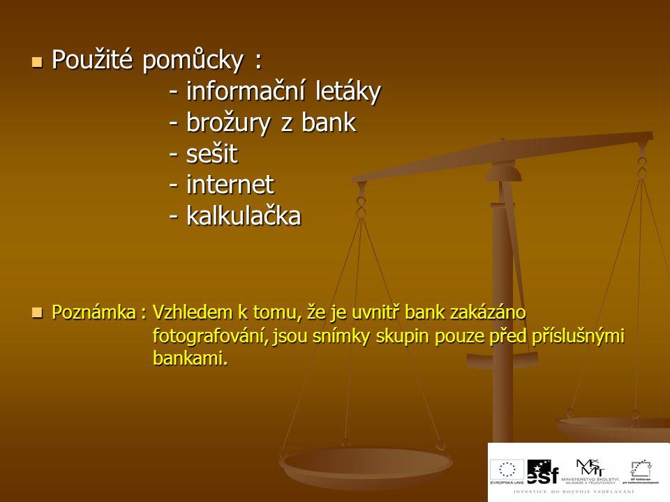 Poznámka : Vzhledem k tomu, že je uvnitř bank zakázáno