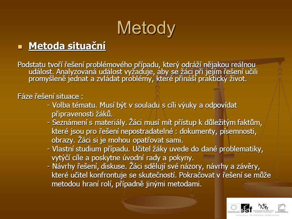 Metody Metoda situační