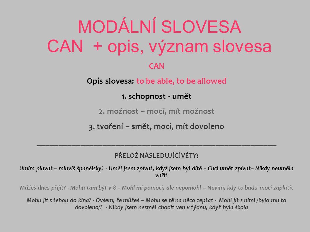 MODÁLNÍ SLOVESA CAN + opis, význam slovesa