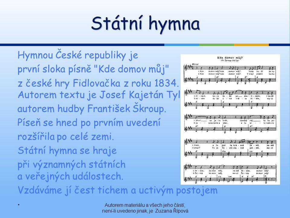 Státní hymna Hymnou České republiky je