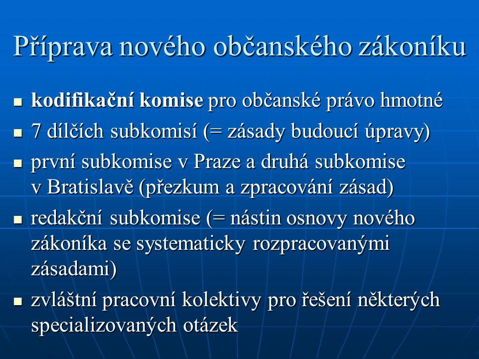 Příprava nového občanského zákoníku