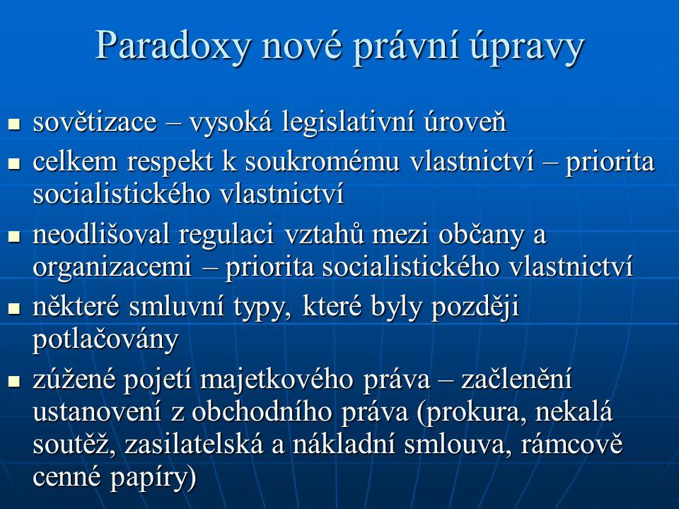 Paradoxy nové právní úpravy