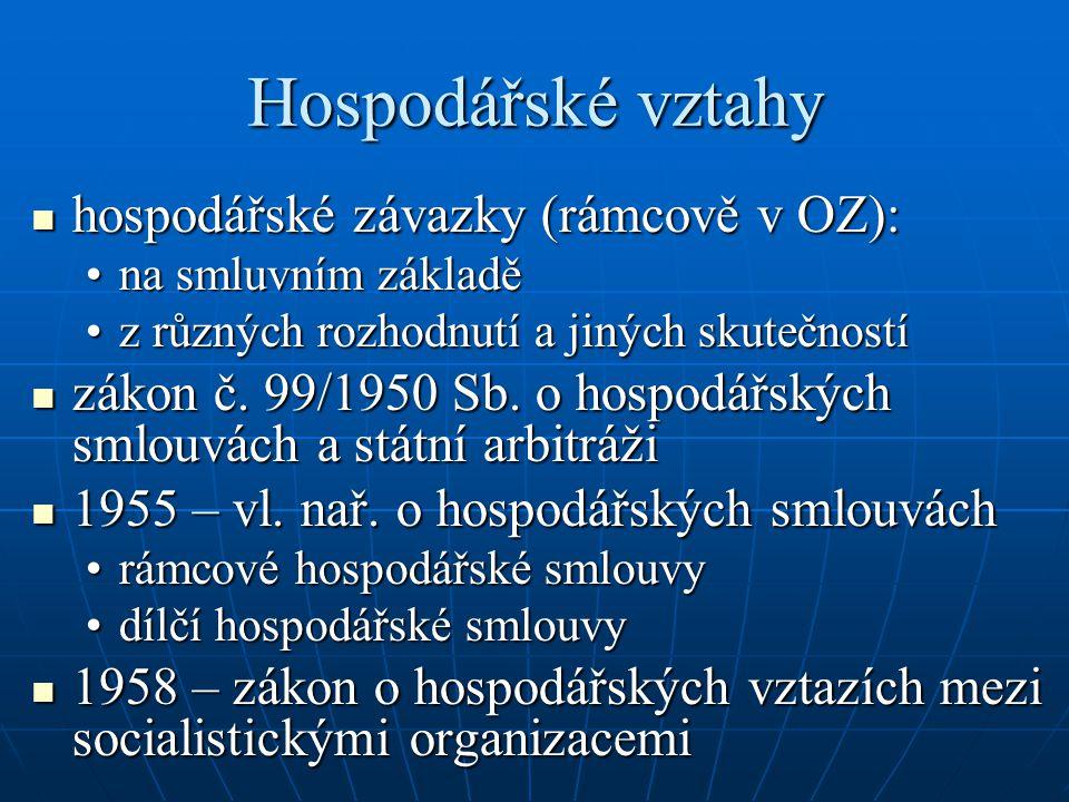 Hospodářské vztahy hospodářské závazky (rámcově v OZ):