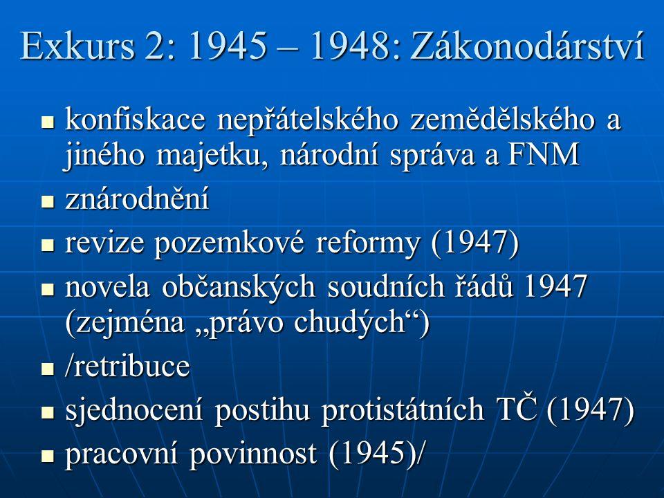 Exkurs 2: 1945 – 1948: Zákonodárství