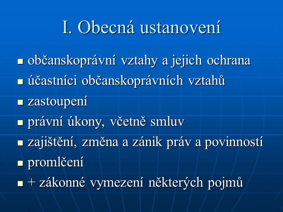 I. Obecná ustanovení občanskoprávní vztahy a jejich ochrana