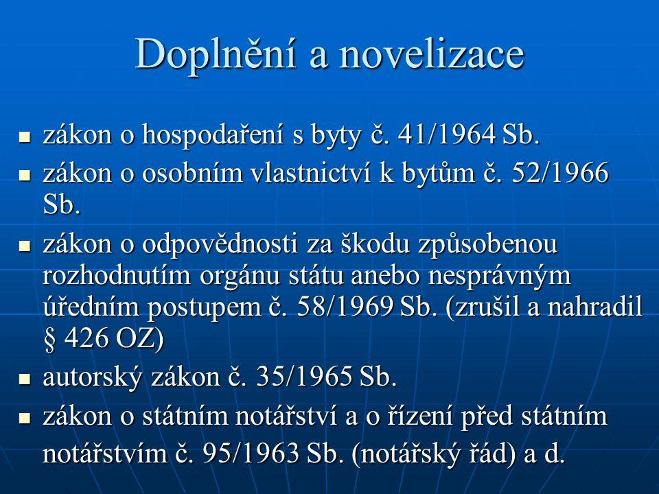 Doplnění a novelizace zákon o hospodaření s byty č. 41/1964 Sb.