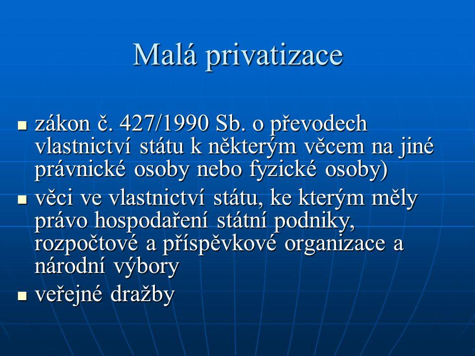Malá privatizace zákon č. 427/1990 Sb. o převodech vlastnictví státu k některým věcem na jiné právnické osoby nebo fyzické osoby)