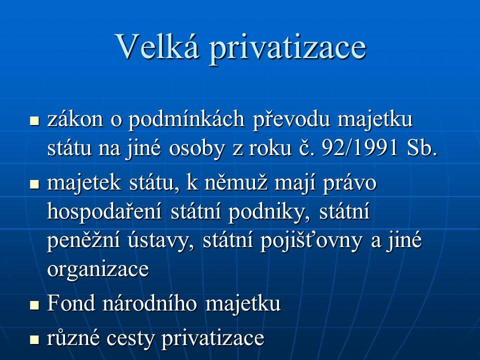 Velká privatizace zákon o podmínkách převodu majetku státu na jiné osoby z roku č. 92/1991 Sb.