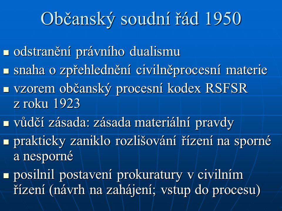 Občanský soudní řád 1950 odstranění právního dualismu