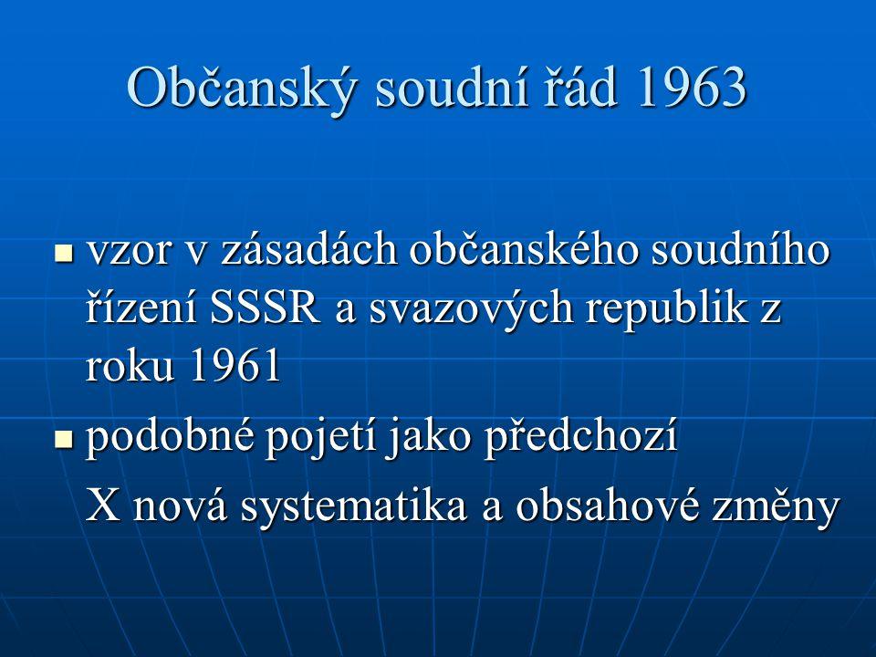 Občanský soudní řád 1963 vzor v zásadách občanského soudního řízení SSSR a svazových republik z roku 1961.