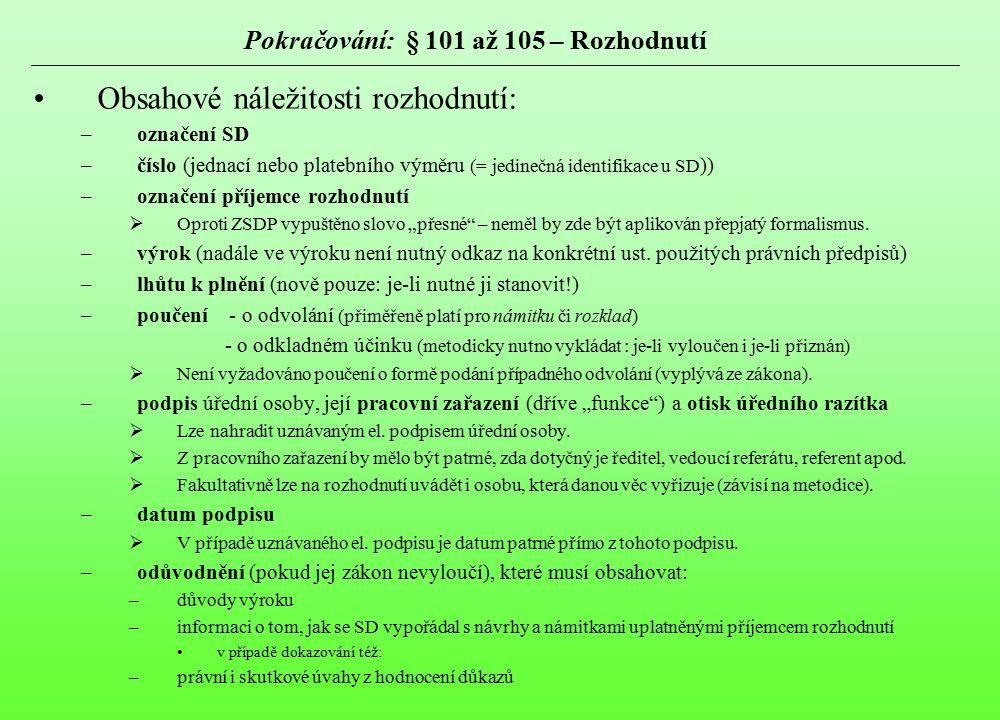 Pokračování: § 101 až 105 – Rozhodnutí