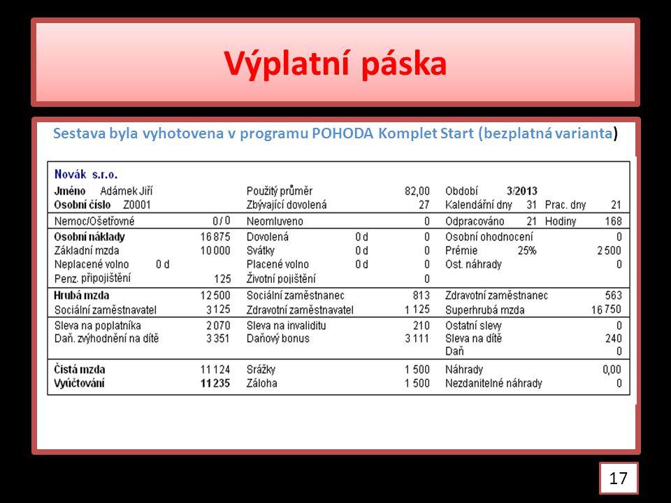 Výplatní páska Sestava byla vyhotovena v programu POHODA Komplet Start (bezplatná varianta)