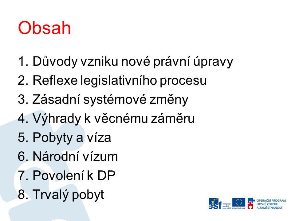 Obsah Důvody vzniku nové právní úpravy Reflexe legislativního procesu