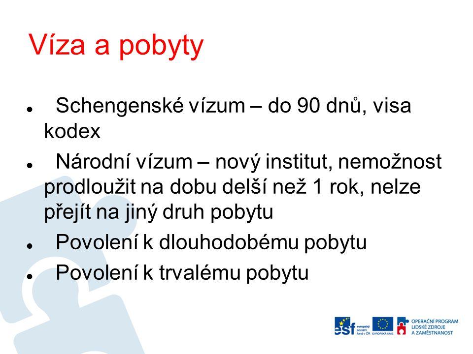 Víza a pobyty Schengenské vízum – do 90 dnů, visa kodex