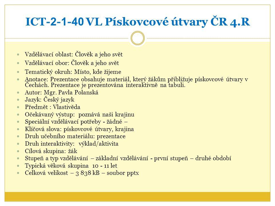 ICT-2-1-40 VL Pískovcové útvary ČR 4.R