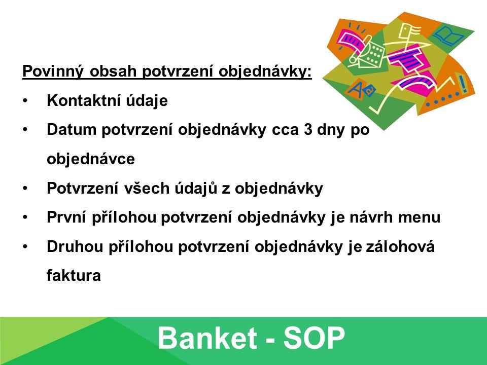 Banket - SOP Povinný obsah potvrzení objednávky: Kontaktní údaje