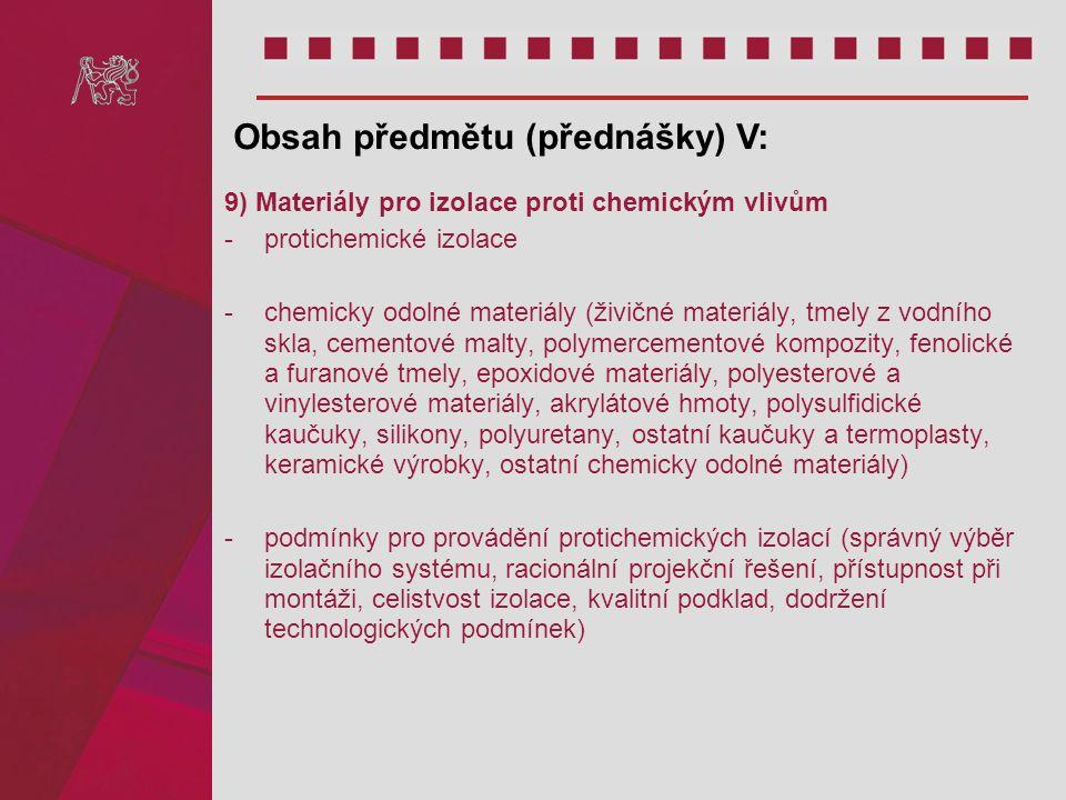 Obsah předmětu (přednášky) V: