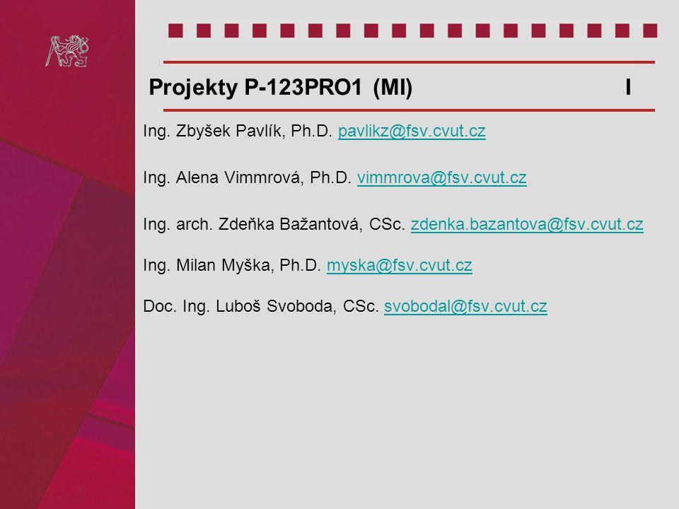 Projekty P-123PRO1 (MI) I Ing. Zbyšek Pavlík, Ph.D. pavlikz@fsv.cvut.cz.