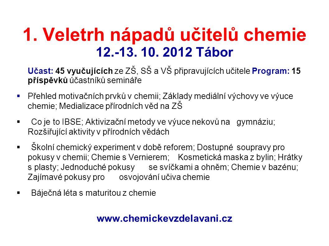 1. Veletrh nápadů učitelů chemie 12.-13. 10. 2012 Tábor