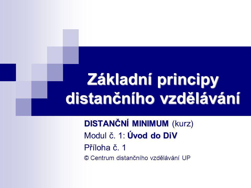 Základní principy distančního vzdělávání