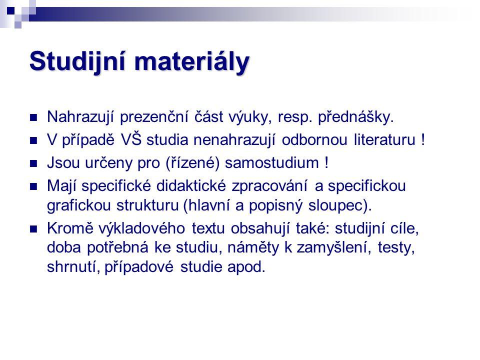 Studijní materiály Nahrazují prezenční část výuky, resp. přednášky.