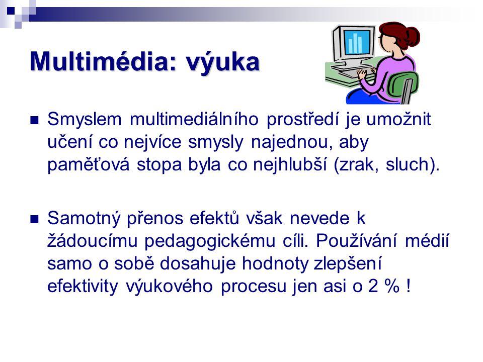 Multimédia: výuka Smyslem multimediálního prostředí je umožnit učení co nejvíce smysly najednou, aby paměťová stopa byla co nejhlubší (zrak, sluch).