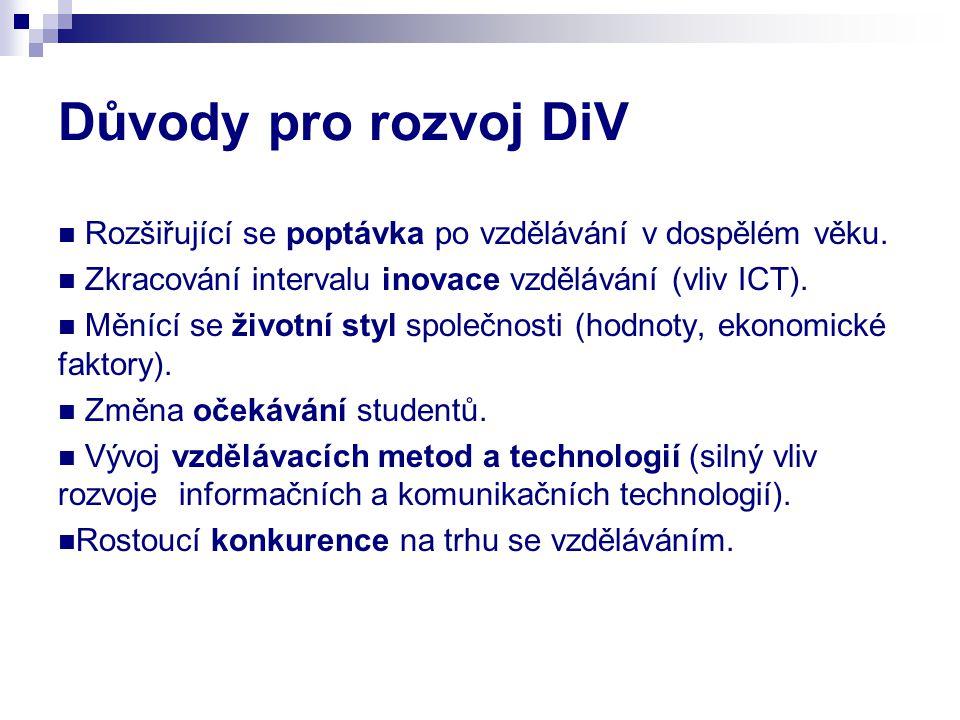 Důvody pro rozvoj DiV Rozšiřující se poptávka po vzdělávání v dospělém věku. Zkracování intervalu inovace vzdělávání (vliv ICT).