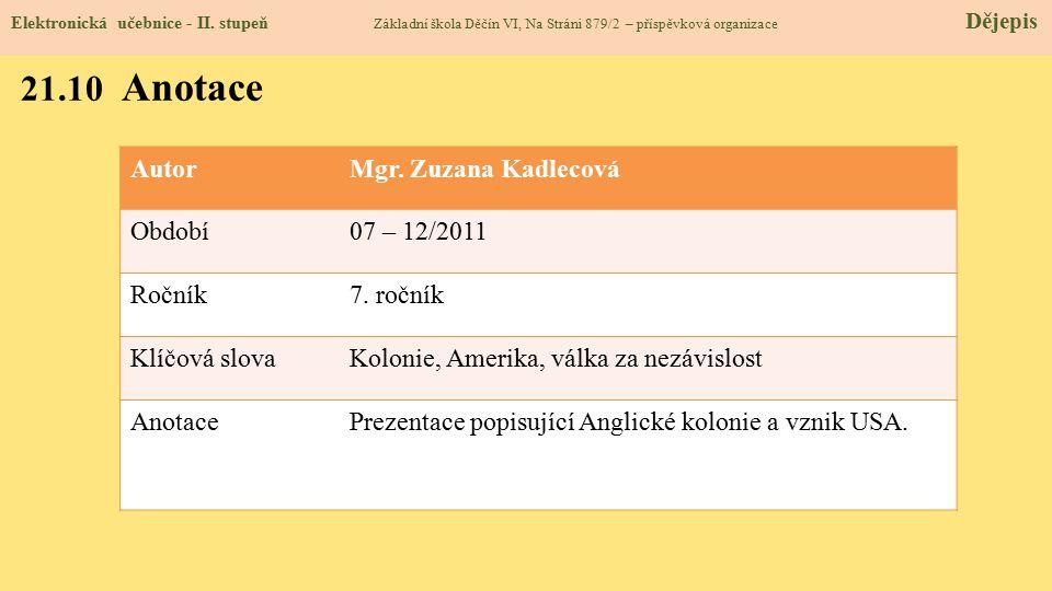 21.10 Anotace Autor Mgr. Zuzana Kadlecová Období 07 – 12/2011 Ročník