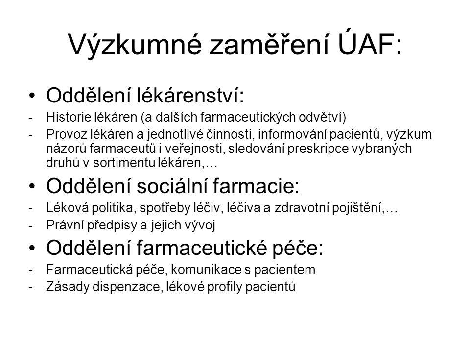Výzkumné zaměření ÚAF:
