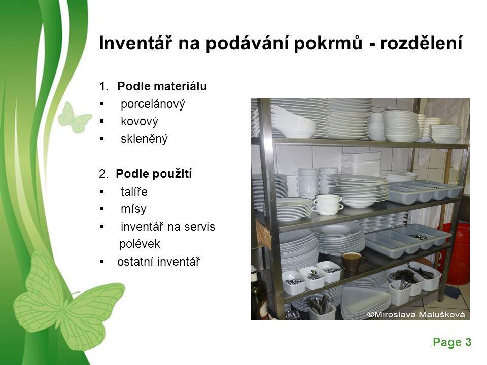 Inventář na podávání pokrmů - rozdělení