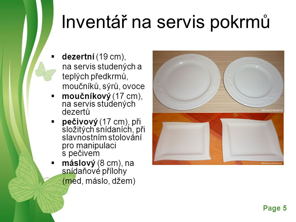 Inventář na servis pokrmů