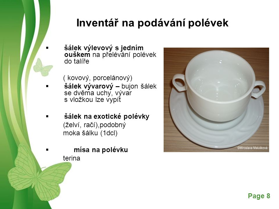 Inventář na podávání polévek