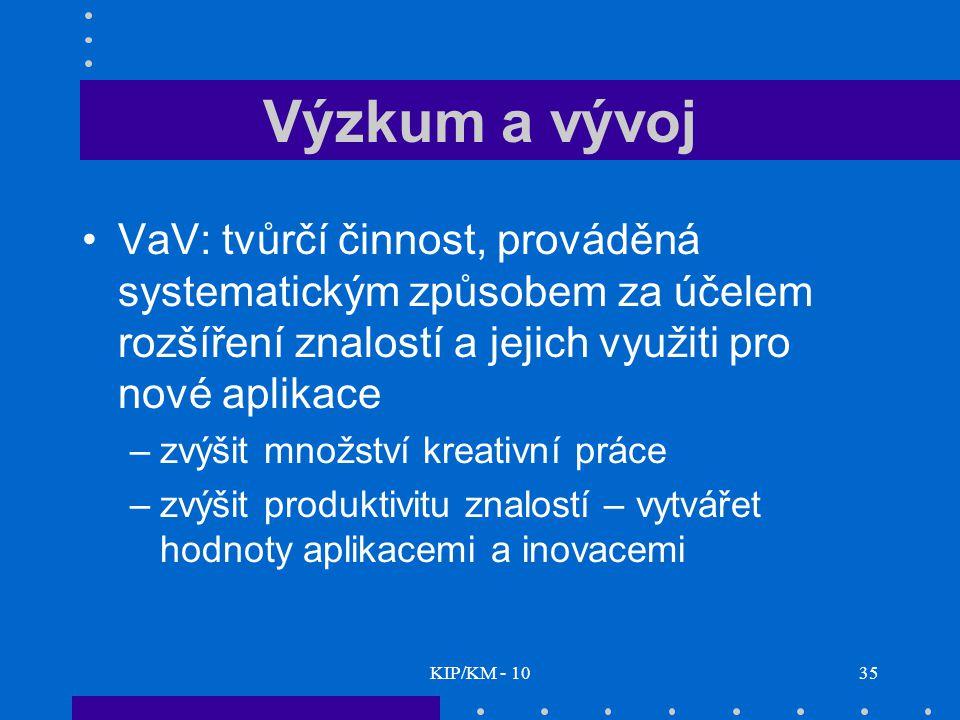 Výzkum a vývoj VaV: tvůrčí činnost, prováděná systematickým způsobem za účelem rozšíření znalostí a jejich využiti pro nové aplikace.