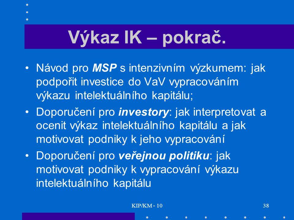 Výkaz IK – pokrač. Návod pro MSP s intenzivním výzkumem: jak podpořit investice do VaV vypracováním výkazu intelektuálního kapitálu;
