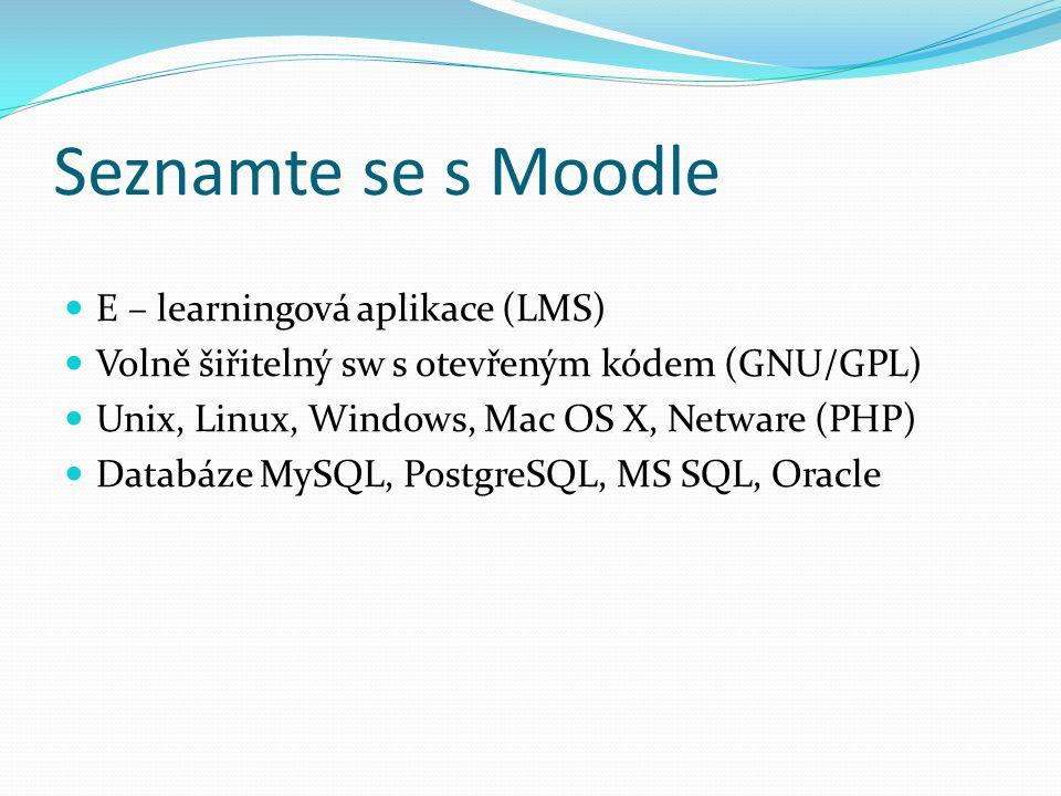 Seznamte se s Moodle E – learningová aplikace (LMS)